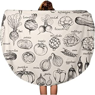 Semtomn 60 Inches Round Beach Towel Blanket Green Food Collection of Vegetables in Vintage Sketch Mushroom Travel Circle Circular Towels Mat Tapestry Beach Throw