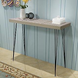 Festnight Mueble de Consola Mesa Materia de MDF + Acero para Salón Habitación 90 x 30 x 715 cm Color Gris