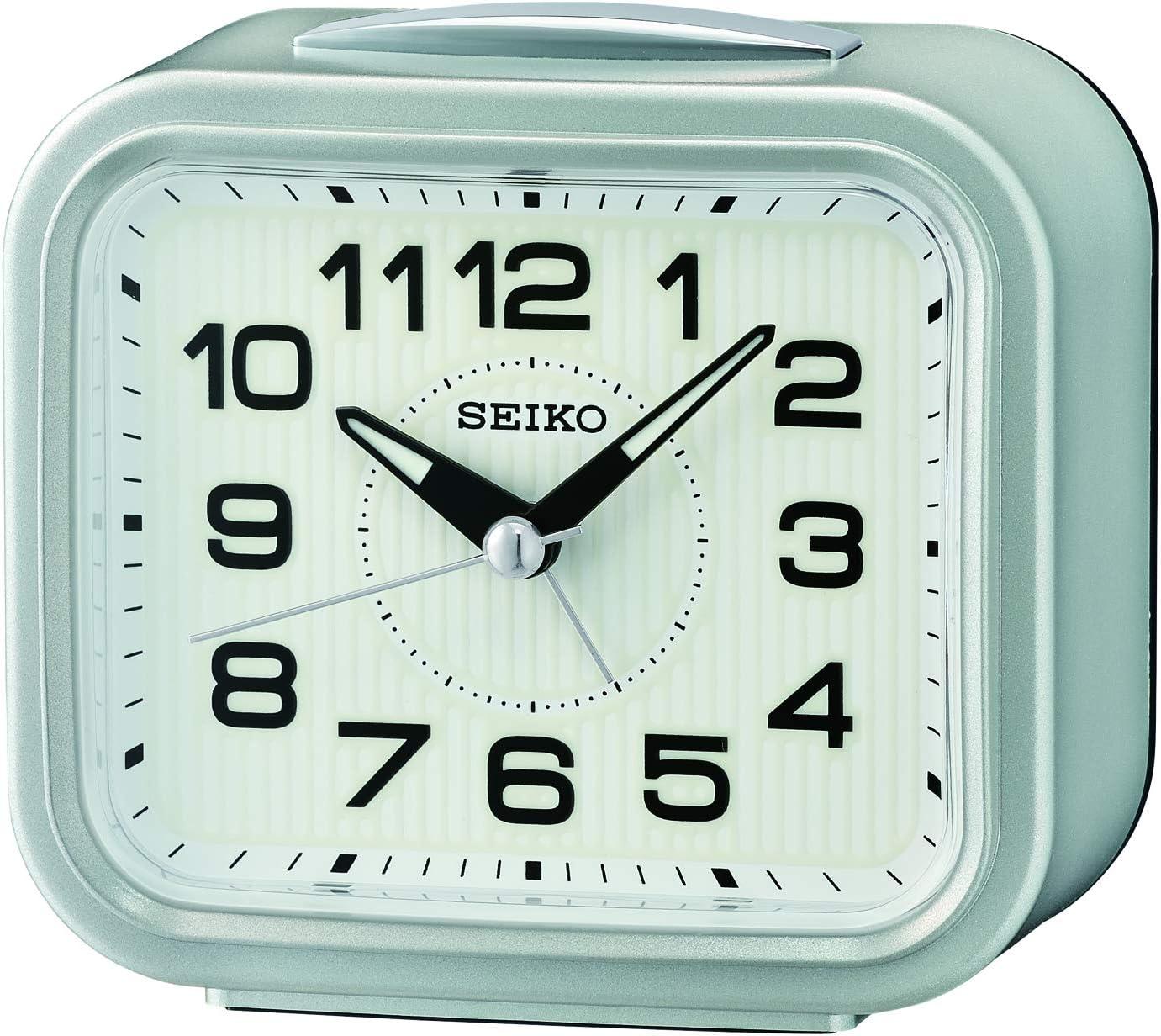 Seiko Alarm 激安セール Clock Silver 9.3 未使用品 5.4 cm 10.5 x