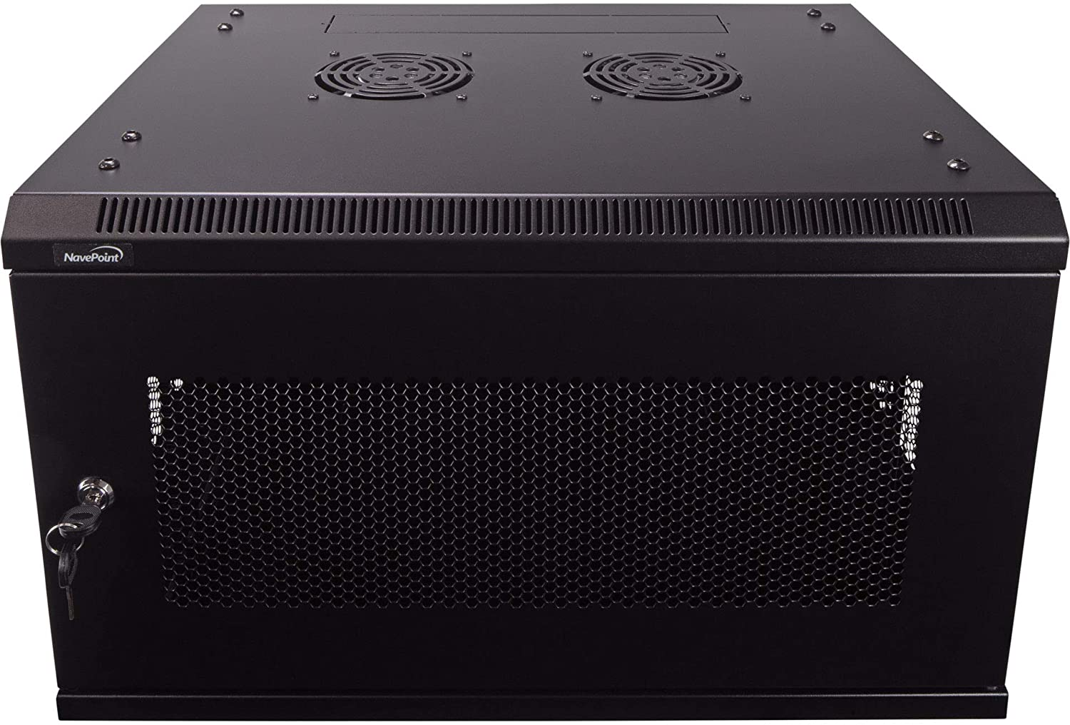 NavePoint 6U Deluxe IT Wallmount Cabinet Enclosure 19-Inch Server Network Rack with Locking Perforated Door 16-Inches Deep Black