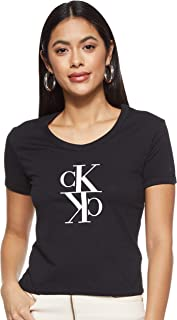 Calvin Klein Women's MIRRORED MONOGRAM BABY TEE S/S T-Shirt