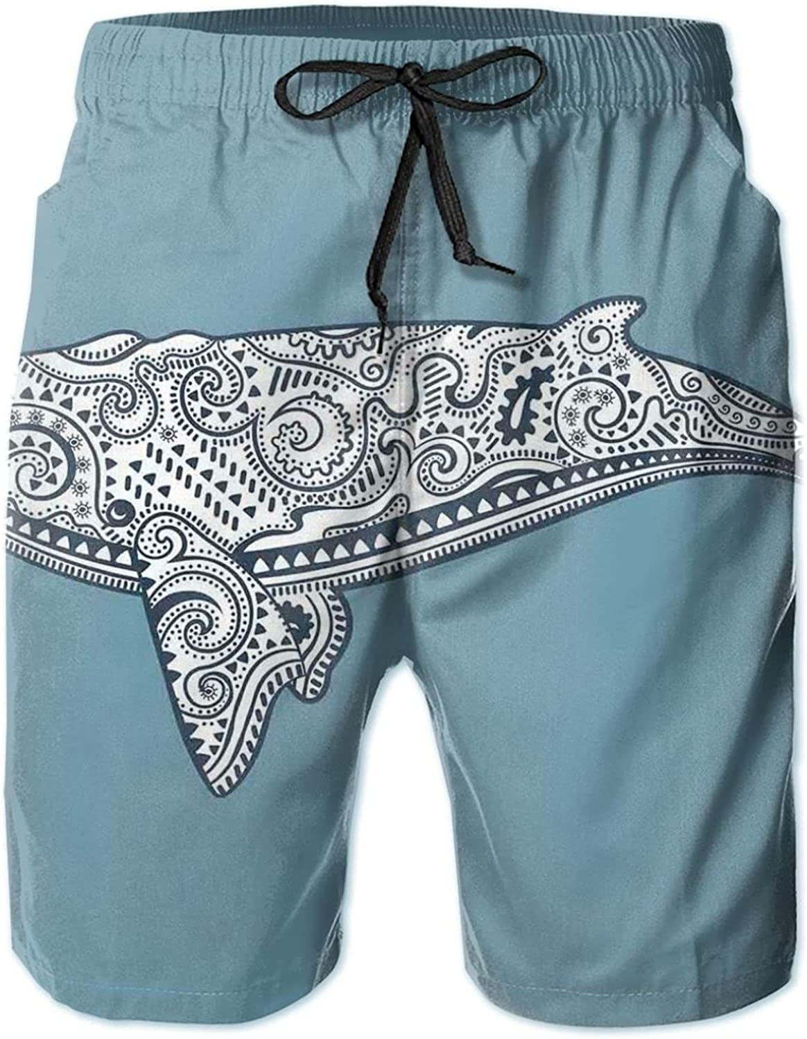 MUJAQ Ethnic Whale Fish with Totem Symbol and Kitsch Antique Paisley Pattern Drawstring Waist Beach Shorts for Men Swim Trucks Board Shorts with Mesh Lining,XL