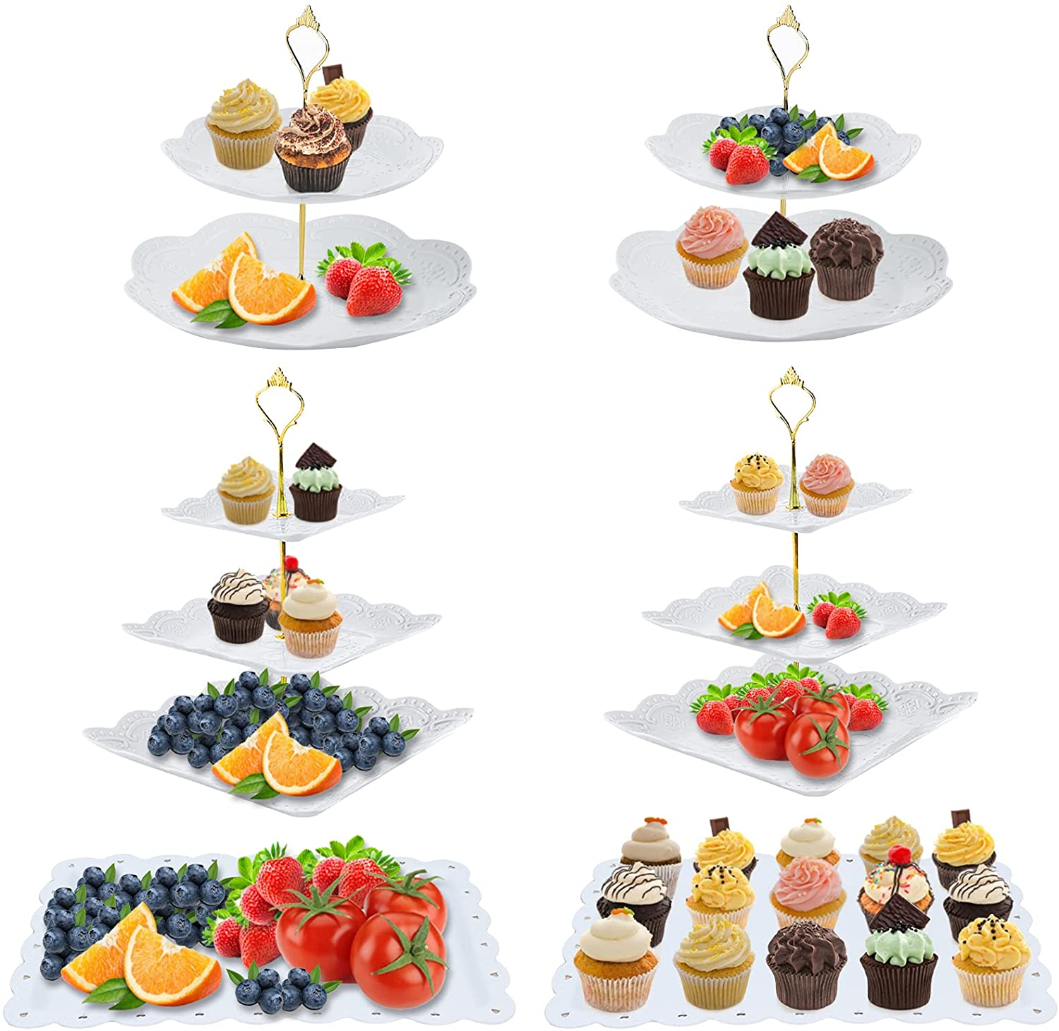 6 Set 3 Tier Cupcake Stand White Plastic Party Cake Stand Cupcake Holder Tiered Cake Stand Fruit Candy Dessert Display Plates Serving Tray Table Decoration for Baby Shower Wedding Birthday Celebration