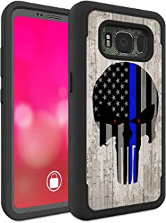 Galaxy S8 Active Case (Do Not Fit S8), Rossy Heavy Duty Hybrid TPU Plastic Dual Layer Armor Defender Protection Case Cover for Samsung Galaxy S8 Active,Thin Blue Line Flag on Wood