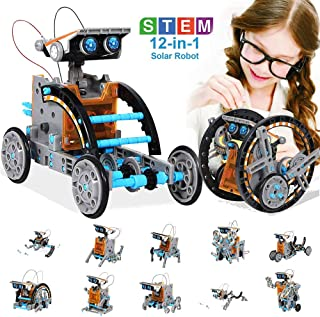 happyplay Solar Robot Toys STEM 12-in-1 DIY Building Education Science Experiment Kit for Kids Age 8-14 and Older