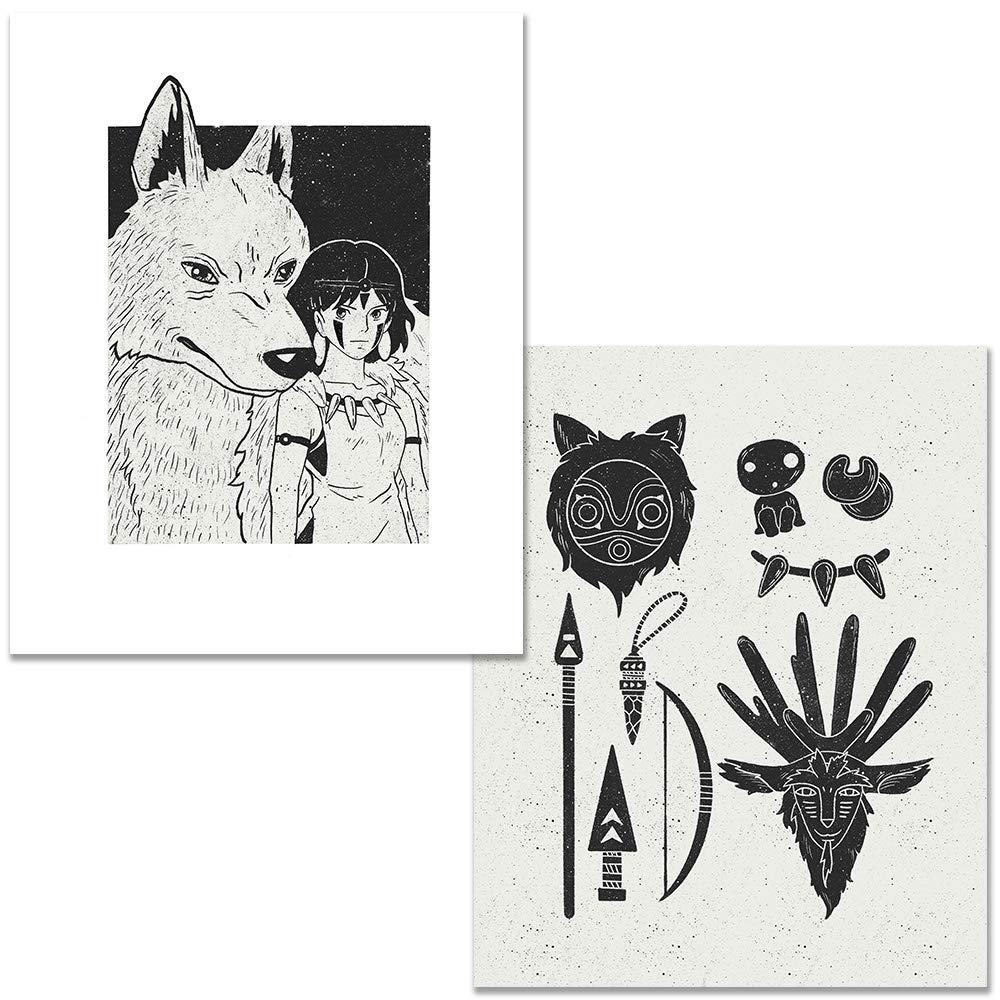 8x10 Set Of 2 Princess Max 53% OFF Mononoke Art Posters Excellence Home Anime Deco Wall