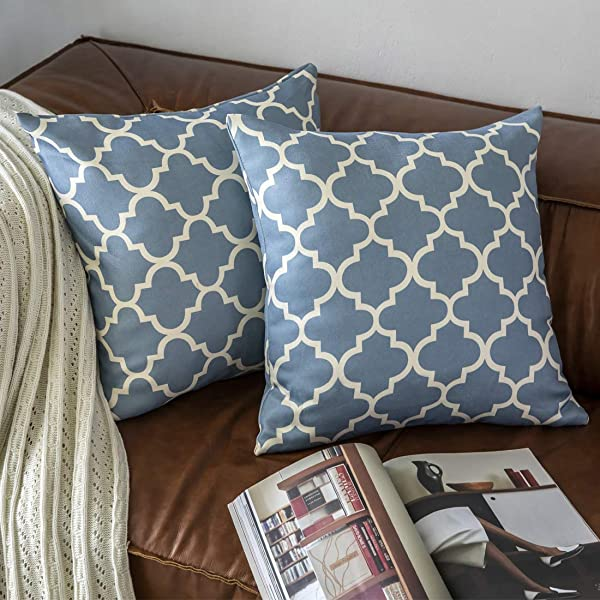 KEYNOTES Blue Throw Pillows Covers 20x20 Set Of 2 Soft Accent Home Decorative Cushions Covers Square Geometric Egg Print Navy Throw Pillow Cases Shams With Zipper For Couch Sofa Bed Chair