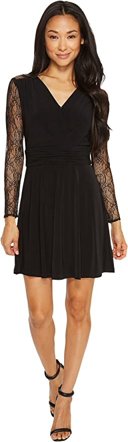 Petite Faux-Wrap Dress with Lace Sleeves