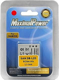 Maximalpower SAN DB-L20 DB-L20AU Battery for Sanyo Xacti VPC-E1,E6,C6,CG6, CG9,C40,CA6,E1BL, CA65,CG6BL, C1, E60, E6U,CA6,C40, DMX-CG6-L, Uniden UDC-7M, Fisher VPC-C5,Fully Decoded w/ 3YR Warranty