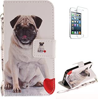 iPhone 5/5S/SE Flip Magnetic Leather Case [Free Screen Protector] KaseHom Pug Dog Love Animals Painted Design Folio Wallet Case with [Card Slot] [Detachable Hand Strap] Slim Protective Cover