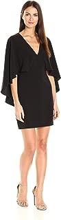 Women's Flowy Cape Sleeve V Neck Crepe Dress