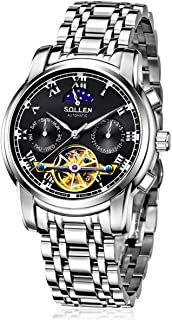 Stainless Watches for Men,Classy Flywheel Automatic Water Resistant Business Wrist Watch with Luminous Hands SL-804