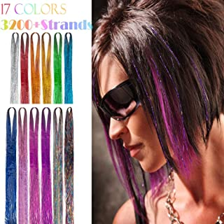 Hair Tinsel Extensions 17 Colors Fairy Hair Tinsel Kit Sparkling Shiny Hair Extensions 3200 Strands Colored Party Highlights Glitter Extensions Multi-Colors Hair Bling (17colors hair tinsel)
