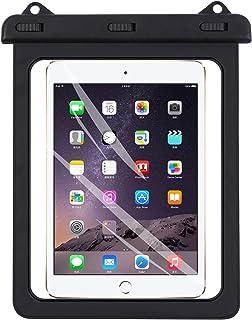 (ロキリフ) タブレット iPad 透明 防水ケース 7-10インチ対応 (沐浴 風呂 雨天 アウトドア キャンプ キッチン ネックストラップ付き)(黒色)