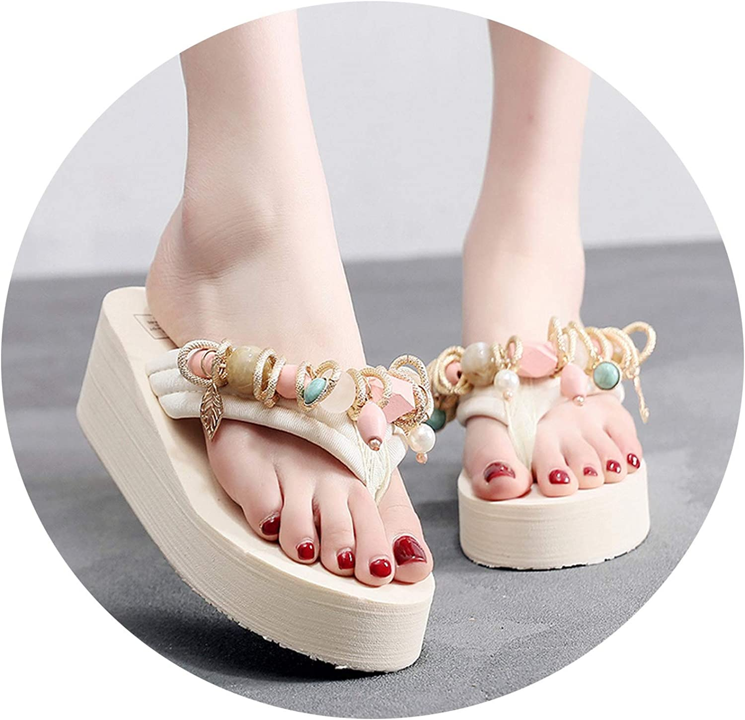 Slides Home Slippers Summer Bead Leaf Slippers One-Shouldered Platform shoes,Beige,10.5,