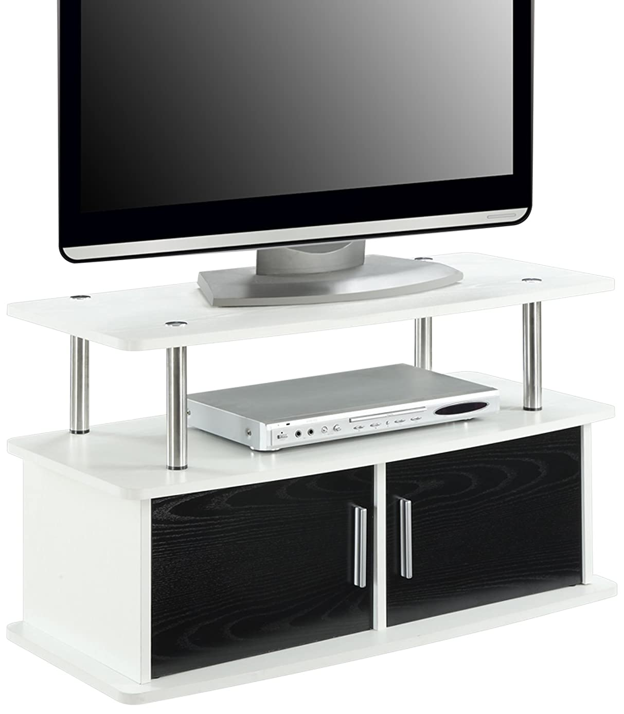 Convenience Concepts Designs2Go Deluxe 2-Door TV Stand with Cabinets, White