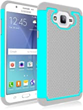 Galaxy J7 Case, Jeylly [Shock Proof][Turquoise] Dual Layer Defender Protective Scratch Absorbing Hybrid Rubber Plastic Impact Defender Rugged Hard Case Cover Shield For Samsung Galaxy J7 Released 2015