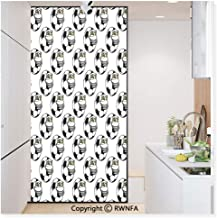 RWN Film Removable Static Decorative Privacy Window Films Cartoon Football Mascot with Happy Funny Face Expression Sports Game Play for Glass (17.7In. by 78.7In),Black White Yellow