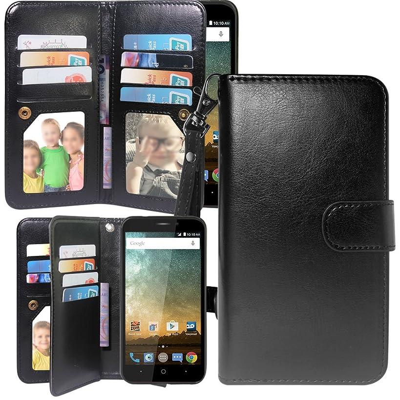 12 Card Slot Kickstand Leather Wallet Flip Case Cover Wrist Strap for ZTE Prestige 2 N9136 / Avid Plus / Chapel / Sonata 3 / Maven 3 / Prestige N9132 / Avid Trio /ZFive 2 / Midnight Pro (Black)