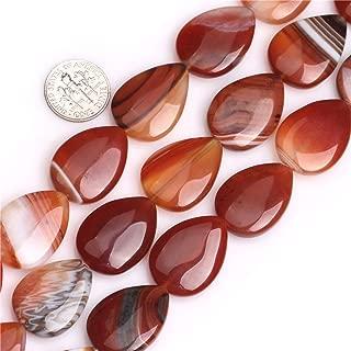 GEM-inside Botswana Agate Stone Gemstone 18x25mm Drop Natural Red Brown Onyx Semi Precious Crystal Energy Stone Power Beads for Jewelry Making 15