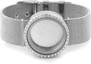 Corykeyes Metal Mesh Glass Bangle Living Memory Locket Bracelet For Floating Charms