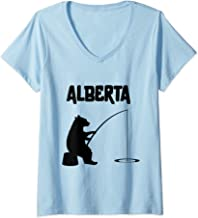 Womens Alberta Bear Shirt | AB Bear Fishing for Women V-Neck T-Shirt