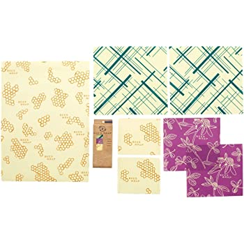 Bee's Wrap Variety Pack, Eco Friendly Reusable Beeswax Food Wraps, Sustainable, Zero Waste, Plastic Free Alternative for Food Storage - 2 Small, 2 Medium, 2 Large, 1 Bread