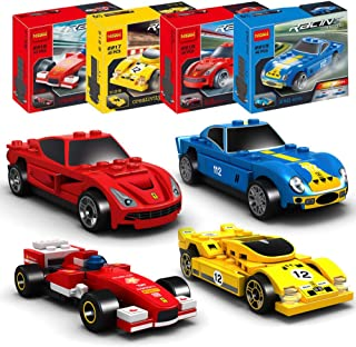 ActionEliters 176 pcs Building Blocks Car Toys, Set of 4 Race Car Building Kits 3D Assembly Cars for Kids Creativity Play with Manual Instruction