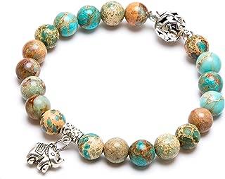 Bivei Gemstone Bead Bracelet for Women Healing Crystal Stone Yoga Chakra Meditation Elephant Good Luck Charm Bracelet