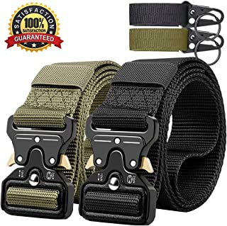 QINGYUN 2PCS Tactical Belt,Military Style Webbing Riggers Web Gun Belt with Heavy-Duty Quick-Release Metal Buckle with 2 Keychains