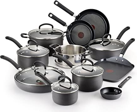T-fal Hard Anodized Cookware Set, Nonstick Pots and Pans Set, 17 Piece