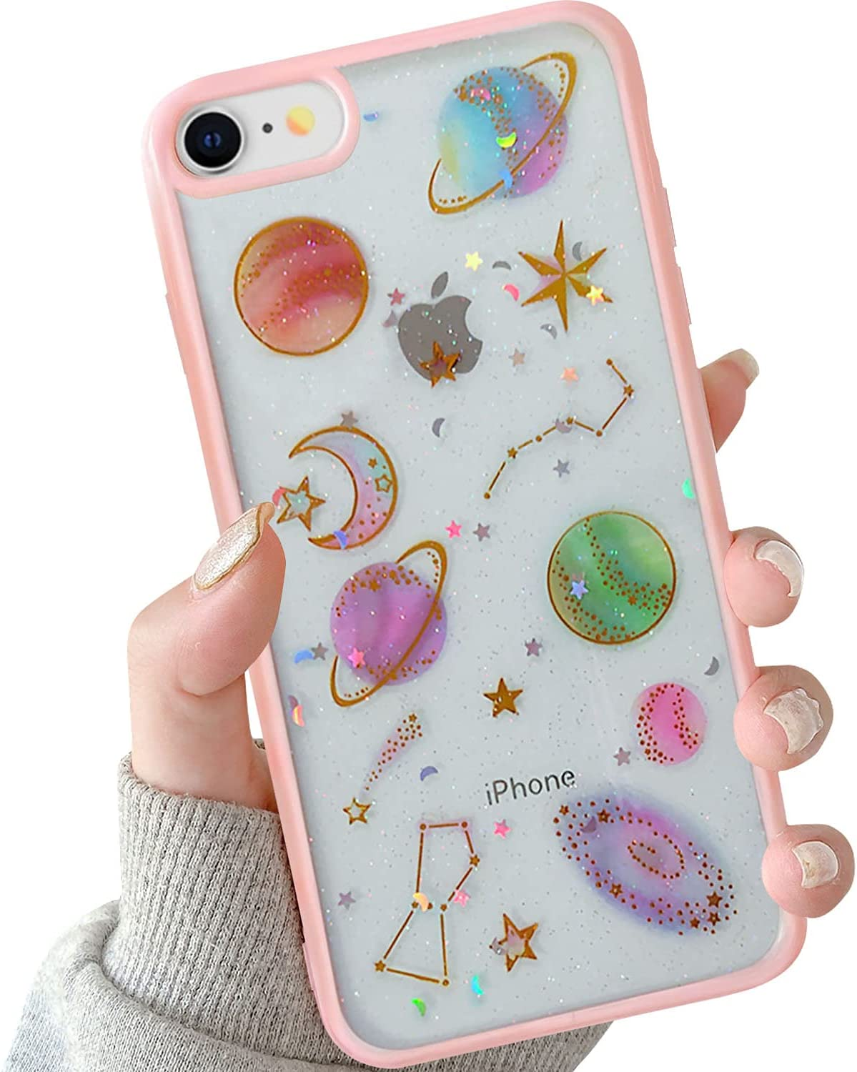 BOFTALE iPhone 7 iPhone 8 Cute Case Clear, Handmade Glitter Bling Sparkle Design Slim Soft TPU Pretty Phone Cover for Girls Women Compatible iPhone 8/7(Pink)