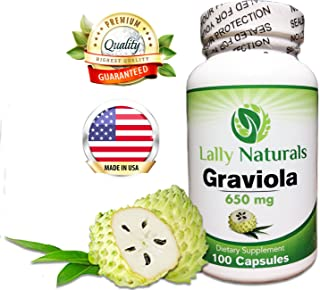 Pure Graviola Extract Supplement 650mg - (100 Count) Soursop (Annona muricata) Boosts Immune System Antioxidants Each Capsule Contains 650 mg of Pure graviola Powder from graviola Leaves