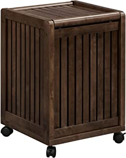 NewRidge Home Goods NewRidge Home Solid Wood Abingdon Mobile (Rolling) Laundry Hamper with Lid, Multiple Colors One Size Espresso