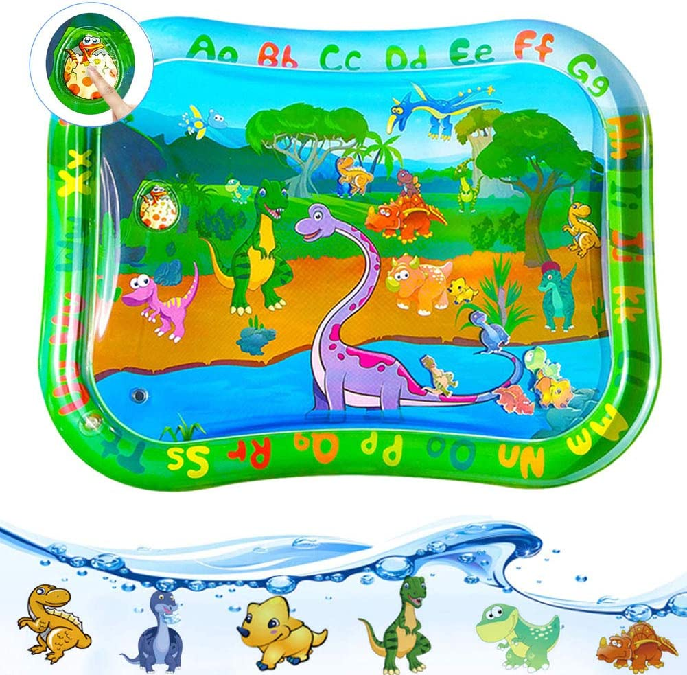 WLLUIO Baby Tummy Time Water Play Mat, Newborn Sensory Play Items Infant Activity Center, Infant Baby Water Mat Toys for Boy and Girl, Portable Gifts for Baby, 37.5 x 30 inch