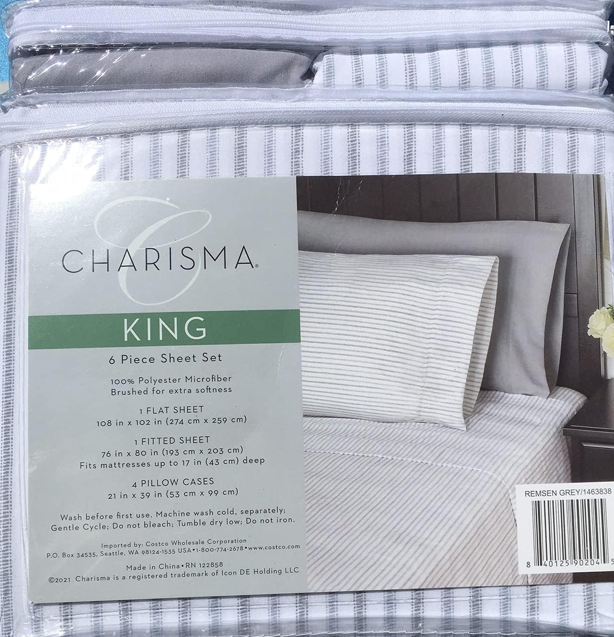 CMA Charisma Microfiber King 6-Piece Set Sheet Columbus Mall Remsen Industry No. 1 Brush Grey
