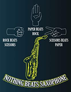 Rock Scissors Paper Nothing Beats Saxophone: Blank Music Sheet Notebook - Silhouette Of Hands And Sax