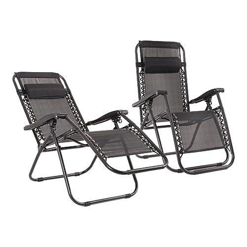 2Pc Black Textoline Zero Gravity Reclining Deluxe Garden Sun Lounger Deck Chairs