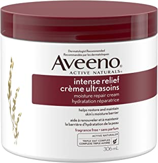 Aveeno Body Cream, Intense Relief and Moisture Repair for Dry and Itchy Skin, Unscented Moisturizer, 306 mL