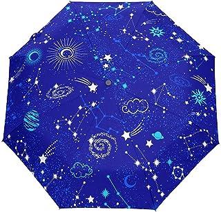 Estrellas Luna Sol Galaxy Nebulosa Espacial Auto Abrir Cerrar Sol Lluvia Paraguas