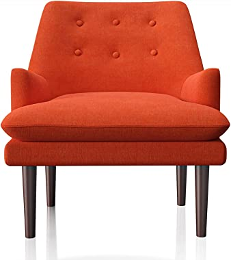 JustRoomy Mid-Century Modern Low Arm Accent Chair Comfortable Fabric Armchair Single Sofa Reading Chair with Brown Wooden Tapered Legs for Bedroom Living Room, Orange