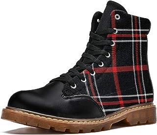 LORVIES Motif écossais Bottes d'hiver Chaussures Montantes en Toile à Lacets pour Hommes