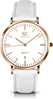 Gelfand & Co. Women's Minimalist Watch White Leather Catherine 36mm Silver with White Dial