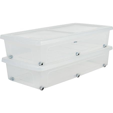 Amazon Basics 135460 Lot de 2 Boîtes de Rangement avec roulettes, Plastique, Transparent, 35 L