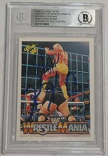 Hulk Hogan & King Kong Bundy Signed 1990 Classic WWE Wrestlemania Card BAS COA 5 - Beckett Authentication