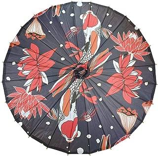 Quasimoon PaperLanternStore.com 32 Inch Midnight Koi Fish Pond Premium Paper Parasol Umbrella