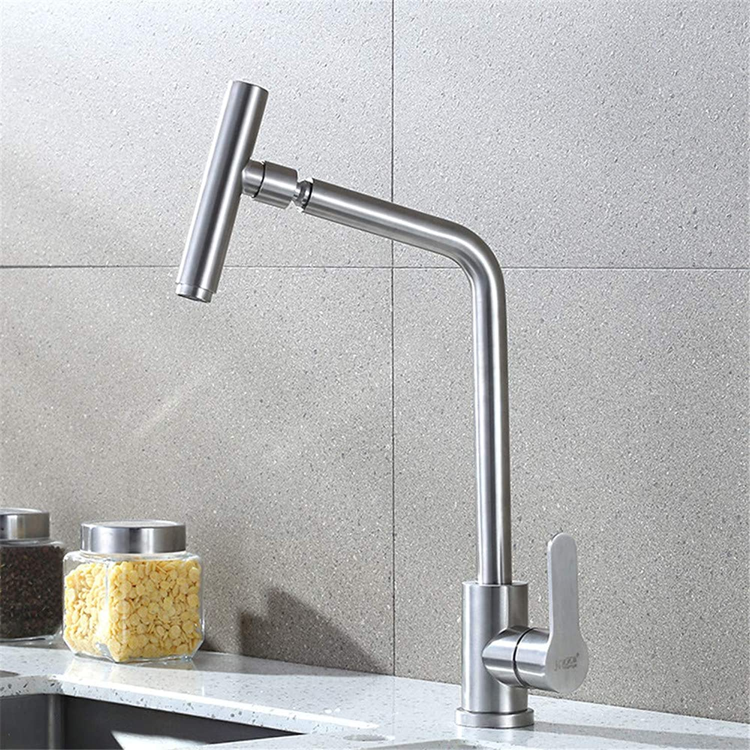 WFVR Stainless steel brushed universal kitchen sink hot and cold water faucet