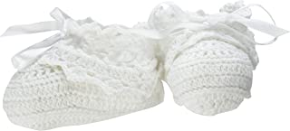 Lillian Rose Crocheted Baby Booties, White