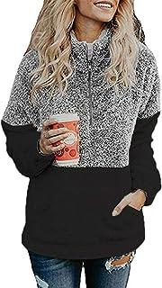 HSRKB Womens Sweatshirts Fall Fleece Jackets Sherpa Pullover Winter Coats with Zipper