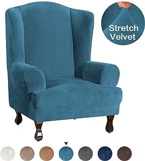 Turquoize Wing Chair Slipcover Velvet Wingback Chair Cover Ultra Soft Plush Sofa Covers Velvet Wing Chair Slipcovers Plush Sofa Covers 1-Piece Furniture Cover/Wingback Chair Cover, Peacock Blue